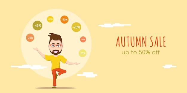 Insegna di concetto di stile piano di vendita di autunno. simpatico personaggio maschile joggling con segni di sconto.