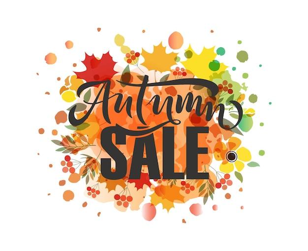 Autunno vendita lettering tipografia moderna autunno vendita calligrafia illustrazione vettoriale su sfondo