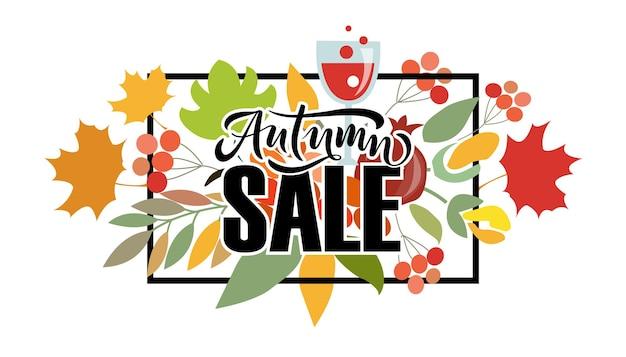 Autunno vendita lettering tipografia moderna autunno vendita calligrafia illustrazione vettoriale sfondo