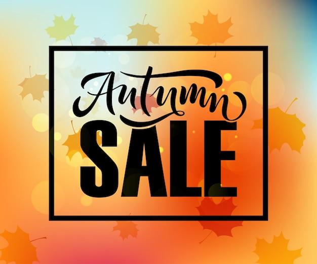 Autunno vendita lettering tipografia moderna autunno vendita calligrafia illustrazione vettoriale eps 10