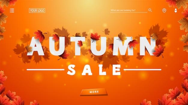 Vendita autunnale, banner sconto arancione con testo bianco 3d