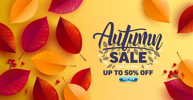 Manifesto di vendita di autunno e modello dell'insegna con le foglie variopinte di autunno su fondo giallo