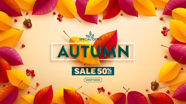 Manifesto di vendita di autunno o banner con foglie colorate autunnali su giallo