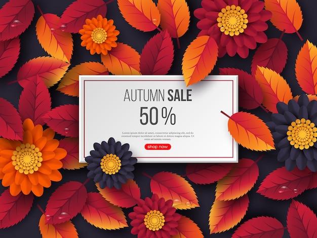Banner rettangolare di vendita autunnale con foglie 3d, fiori e gocce d'acqua. sfondo viola - modello per sconti stagionali, illustrazione vettoriale.