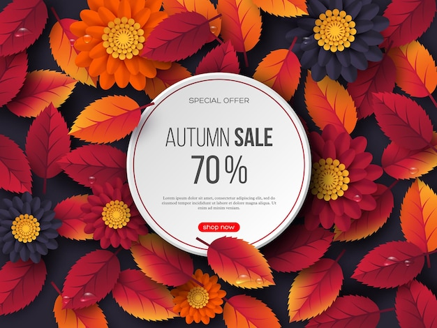 Bandiera rotonda di vendita di autunno con foglie 3d, fiori e gocce d'acqua. modello per sconti stagionali