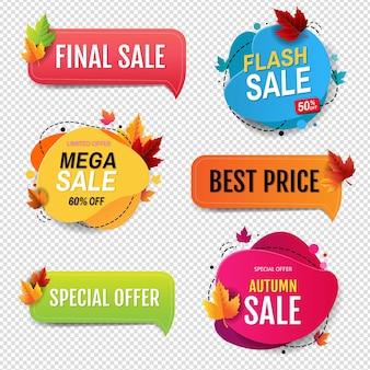 Bolla di discorso di vendita di autunno isolato su sfondo trasparente