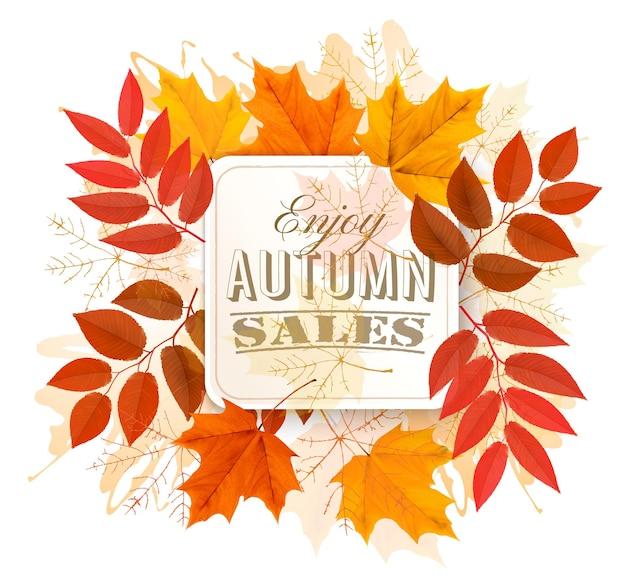 Banner di vendite autunnali con foglie colorate. vettore.