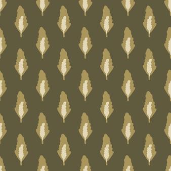 Reticolo botanico senza giunte di autunno con foglie di foresta nei toni del marrone. sfondo floreale disegnato a mano scuro. perfetto per carta da parati, carta da imballaggio, stampa tessile, tessuto. illustrazione.