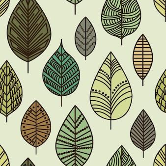Modello foglia autunno senza soluzione di continuità Vettore Premium