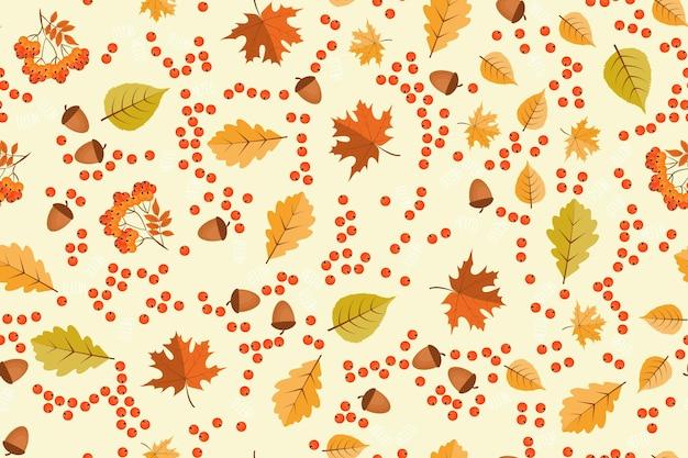 Fondo senza cuciture autunnale con foglie che cadono. illustrazione vettoriale eps10
