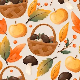 Reticolo senza giunte di autunno con foglie cadute secche. cesto con funghi selvatici, frutti di bosco e mele.
