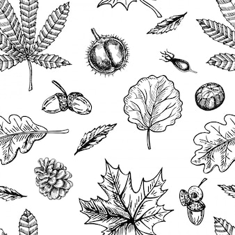 Modello senza cuciture di autunno con la foglia, fondo della foglia di autunno. sfondo carino. caduta delle foglie. foglie autunnali, coni, castagne, ghiande e bacche. l'elegante modello per stampe di moda. .