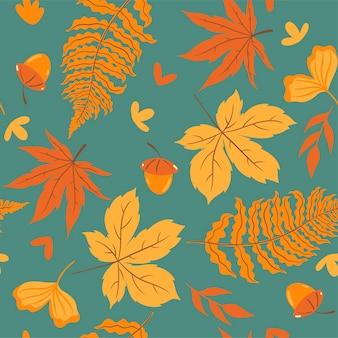 Modello senza cuciture autunnale con foglie