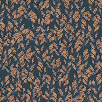 Reticolo senza giunte di autunno con piccolo ornamento del fogliame. stampa floreale autunnale nei toni dell'arancio e del blu navy.