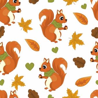 Autunno seamless pattern con scoiattolo.