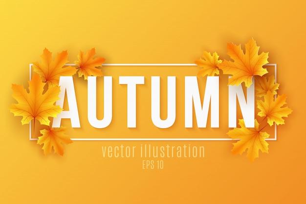 Banner stagionale autunnale con foglie di acero nel telaio su sfondo arancione. modello festivo per progettare il tuo annuncio.