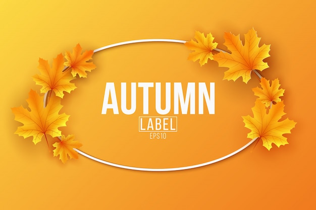 Etichetta stagionale autunnale con foglie di acero su sfondo arancione. modello festivo per progettare il tuo annuncio.