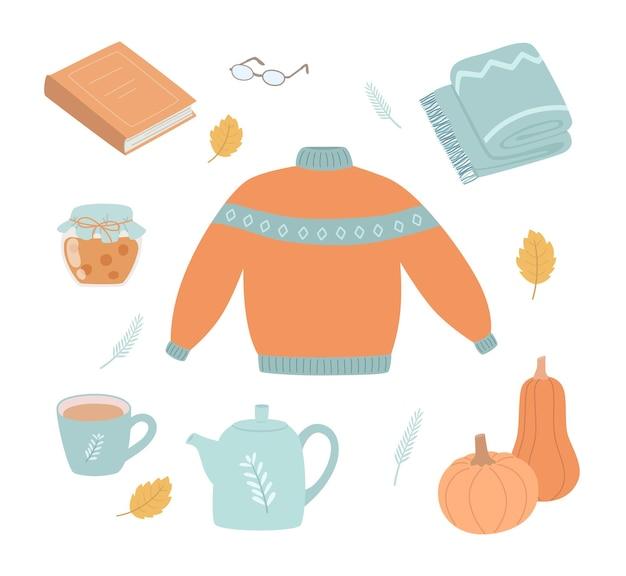 Insieme di autunno elementi disegnati a mano cadono foglie maglione libro coperta bollitore e altro
