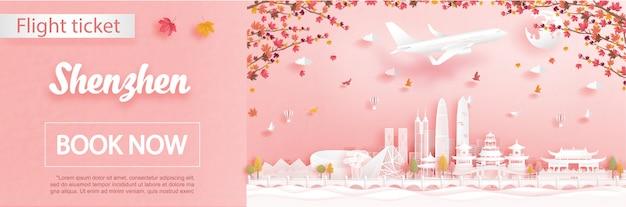 Autunno a shenzhen, cina con foglie di acero che cadono e monumenti di fama mondiale in carta tagliata stile
