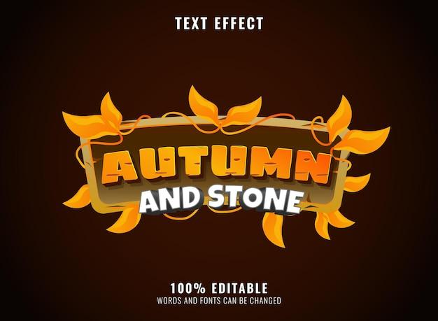 Effetto di testo del titolo del logo del gioco di pietra e roccia autunnale