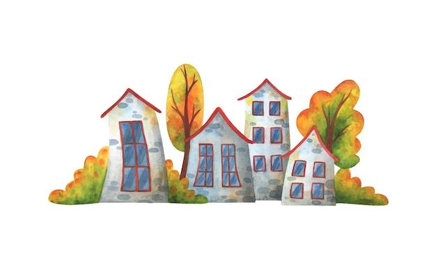 Strada d'autunno con case grigie e alberi ingialliti.