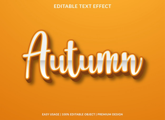 Modello di effetto testo autunnale con stile premium