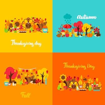 Insieme di concetto di ringraziamento di autunno. illustrazione di vettore. poster stagionali autunnali.