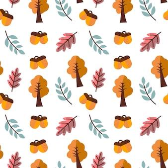 Tema autunno sfondo vettoriale senza soluzione di continuità