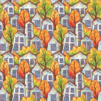 Autunno in città. modello senza cuciture con case e alberi che cadono.