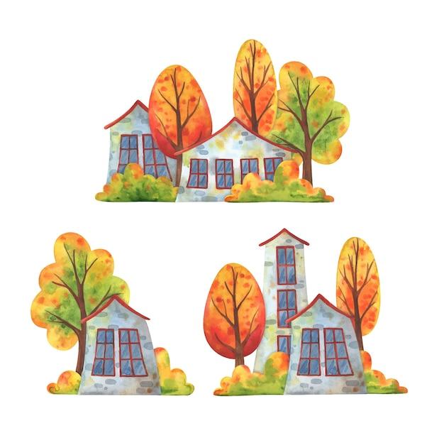 Autunno in città. una serie di illustrazioni con case vicine e alberi che cadono.
