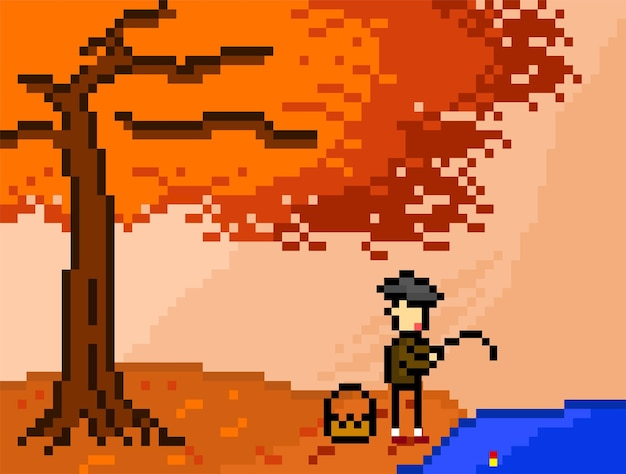 Albero d'autunno e il pescatore con stile pixel art