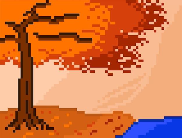 Albero d'autunno e il lago in stile pixel art