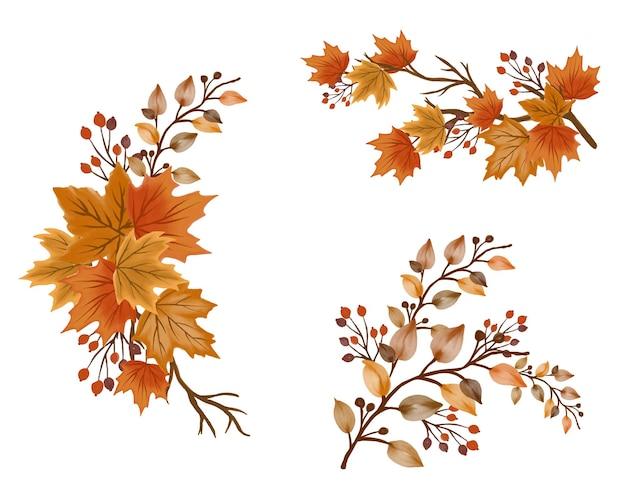 Ramo di autunno realistico dell'albero di autunno isolato su bianco