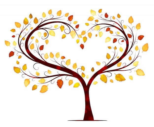 Albero di autunno su bianco