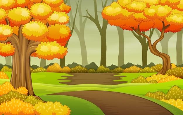 Alberi autunnali nell'illustrazione di sfondo della foresta