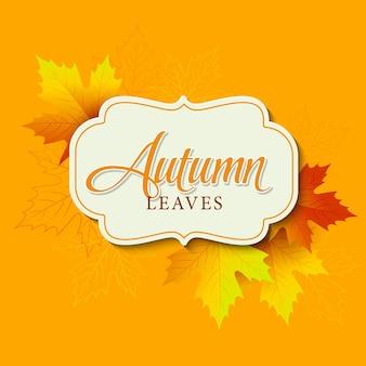 Tipografico d'autunno. foglia caduta. illustrazione vettoriale eps 10