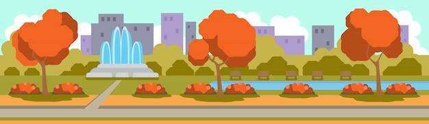 Insegna orizzontale urbana di concetto del paesaggio della fontana del parco giallo urbano di autunno all'aperto piana