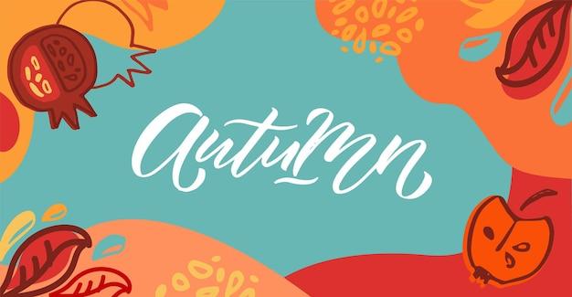 Fondo di vettore di autunno con la tipografia dell'iscrizione dell'insegna del manifesto del distintivo dell'icona di autunno di autunno con