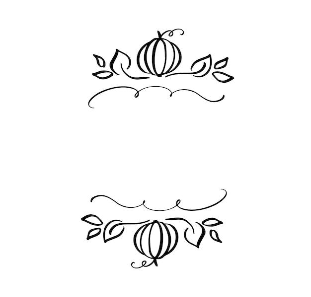 Foglie di illustrazione vettoriale autunnale e cornice di bordo zucca con sfondo di testo spaziale. schizzo scarabocchio pennello nero