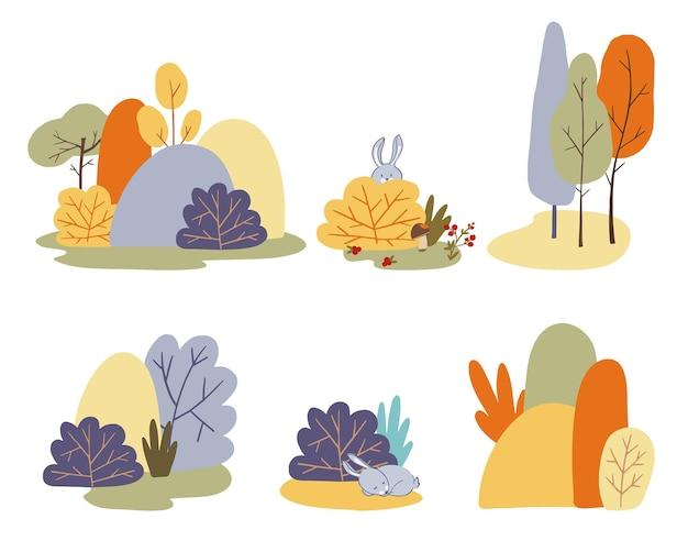Insieme di vettore di autunno di paesaggi di alberi autunnali foresta in autunno