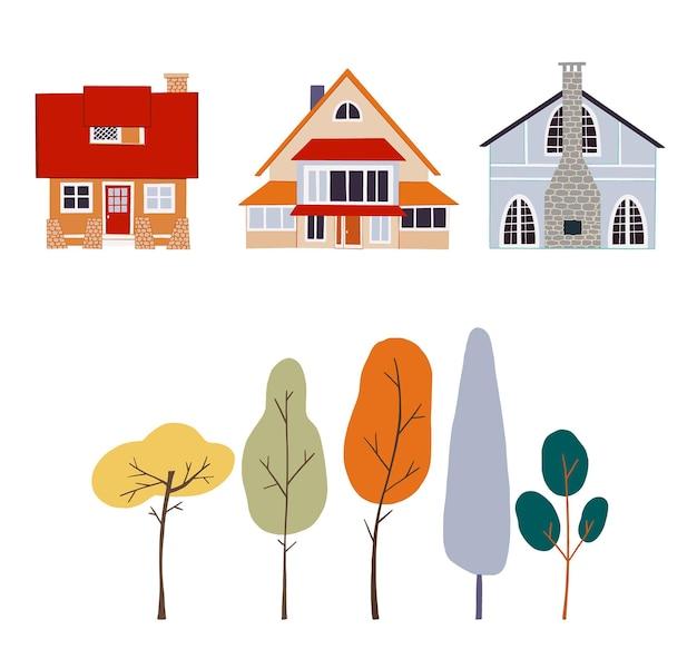 Set vettoriale autunnale di cottage di villaggio con paesaggi di alberi autunnali