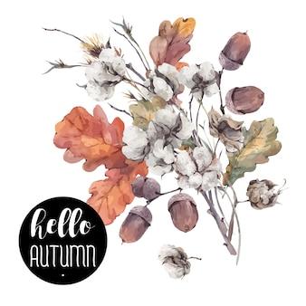 Fiore di cotone vintage vettore d'autunno