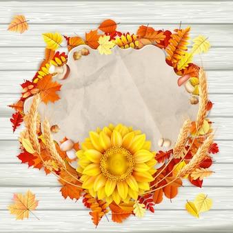 Cartolina d'auguri d'annata di autunno sullo spazio variopinto della copia del fondo delle foglie.