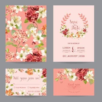 Fiori di ortensia vintage autunnali save the date card per matrimonio, invito, festa in