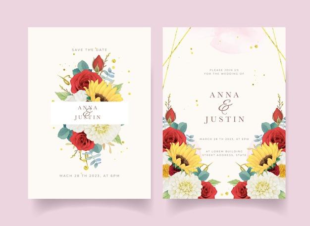 Invito a nozze autunnale di dalia girasole acquerello e rose