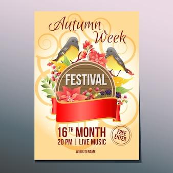 Modello del manifesto del canto degli uccelli di giorno di festival di settimana di autunno