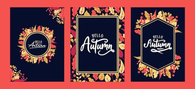 Autunno con belle foglie. sfondo, modello di banner, poster o carta.