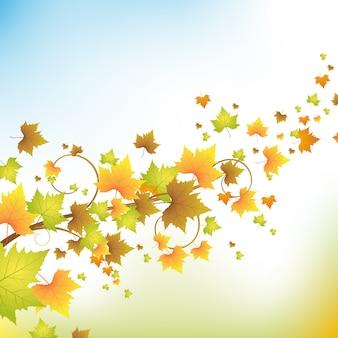 Autunno con foglie colorate nel cielo