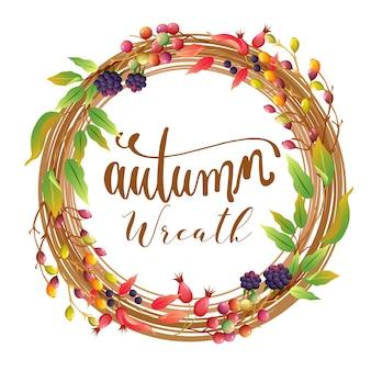 Fogliame di corona d'autunno con pianta d'autunno