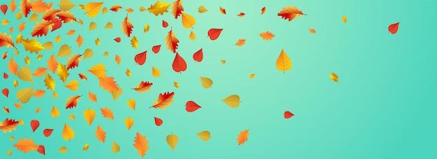Fondo panoramico blu di vettore del fogliame autunnale. la natura lascia l'illustrazione. struttura floreale dorata di novembre. carta di terra.